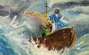 Jesús y la barca en la tormenta