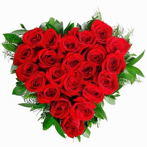Imagen de un corazon hecho con rosas rojas